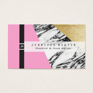Girly Modern Pink Gold and Marble Triangular Cut Business Card