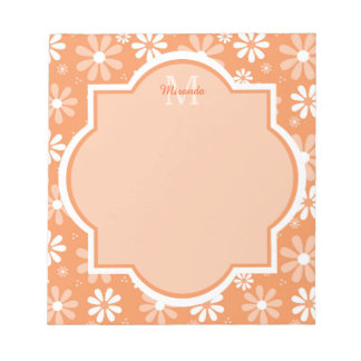Girly Monogram Cute Orange Daisy Flowers and Name Notepad