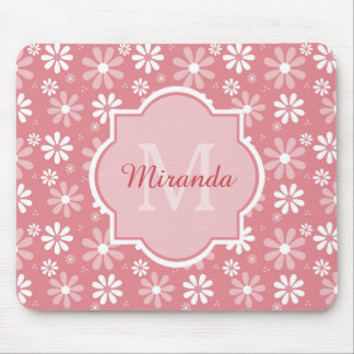 Girly Monogram Cute Pink Daisy Flowers With Name Mouse Pad