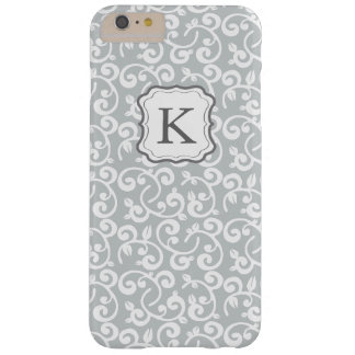 Girly Monogram Floral Gray, Customize the Color! Barely There iPhone 6 Plus Case