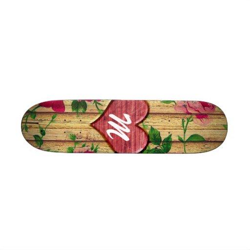 Girly Monogram Floral Print on Wood Skate Board Deck