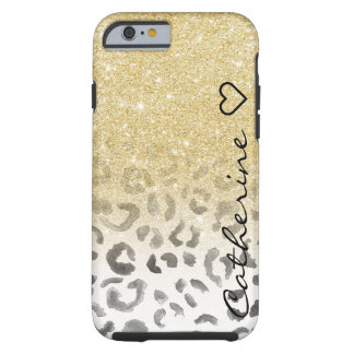 Girly monogram gold glitter leopard watercolor tough iPhone 6 case