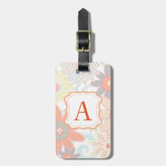 Girly Monogram Pastel Floral Design Luggage Tag