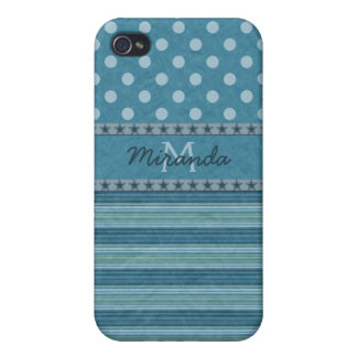 Girly Monogram Polka Dots and Stripes in Blue iPhone 4/4S Cases