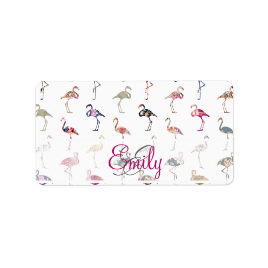 Girly Monogram Retro Floral Flamingos Pattern Address Label