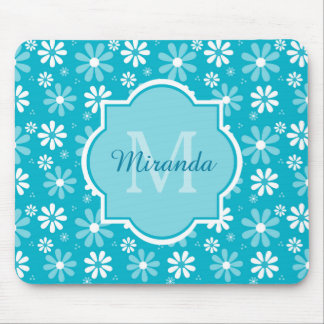Girly Monogram Turquoise Daisy Flowers With Name Mouse Pad