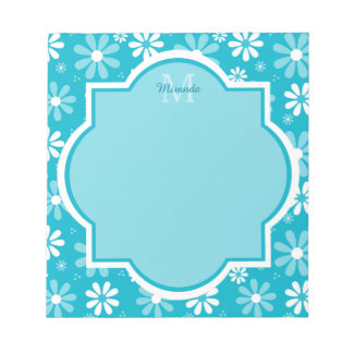 Girly Monogram Turquoise Daisy Flowers With Name Notepad