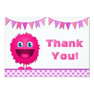 Girly Monster Birthday Bash Thank You Card (flat) 9 Cm X 13 Cm Invitation Card