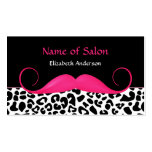 Girly Moustache Pink and Black Leopard Hair Salon