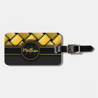 Girly Multicolor Black Gold Weave Pattern Monogram Luggage Tag