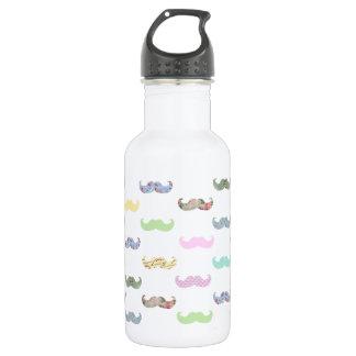Girly mustache pattern 532 ml water bottle