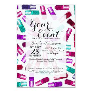 Girly Nail Polish Pretty Painted Watercolor 9 Cm X 13 Cm Invitation Card