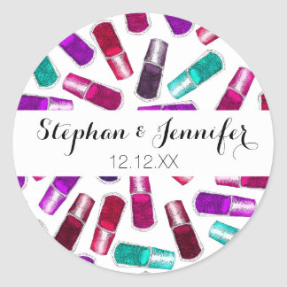 Girly Nail Polish Pretty Painted Watercolor Classic Round Sticker