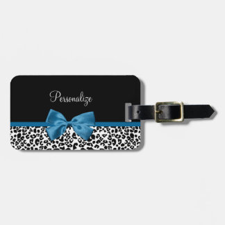 Girly Name Leopard Print Pretty Cobalt Blue Ribbon Luggage Tag