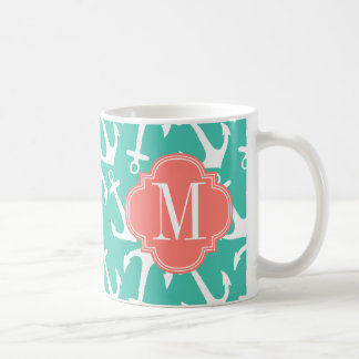Girly Nautical Anchors Turquoise Coral Personalize Coffee Mug