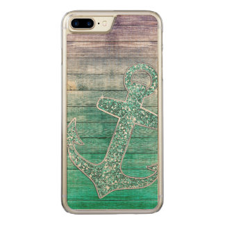 Girly Nautical Purple Aqua Anchor & Wood Carved iPhone 8 Plus/7 Plus Case