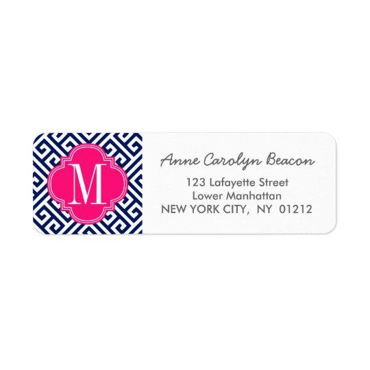 Girly Navy & Pink Greek Key Pattern Custom Return Address Label
