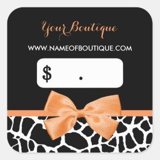 Girly Orange Bow Giraffe Print Boutique Price Tags Square Sticker