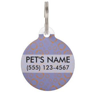 girly orange purple circle squares pattern dizzy pet tag
