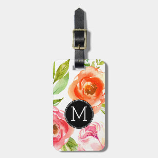 Girly Painted Watercolor Flowers Monogram Luggage Tag