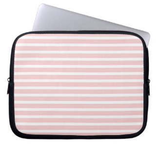 Girly Pale Pink and White Stripes Computer Sleeve