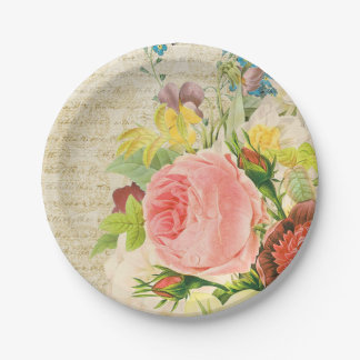 Girly Pastel Floral Pattern Paper Plate