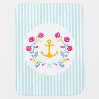 Girly Pastel Floral Wreath Yellow Anchor Baby Blanket