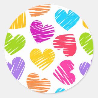 Girly pastel love hearts pattern classic round sticker
