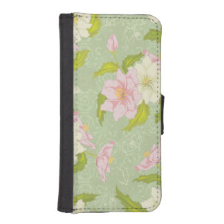 Girly Pastel Pink and Green Floral iPhone SE/5/5s Wallet Case