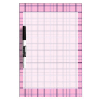 Girly Pastel Pink and Purple Plaid Pattern Dry Erase Boards