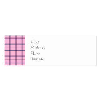 Girly Pastel Pink and Purple Plaid Pattern Pack Of Skinny Business Cards