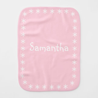 Girly Pastel Pink Girl Baby Burp Cloth with Name