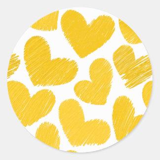 Girly pastel yellow love hearts pattern classic round sticker