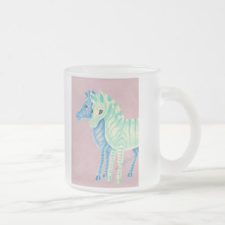 Girly Pastel Zebras With Blue Stripes Frosted Glass Coffee Mug