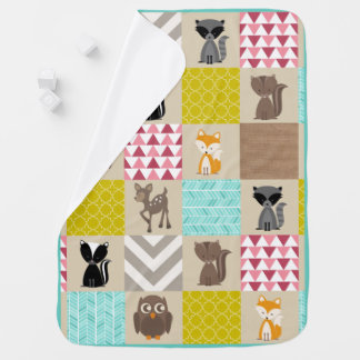 Girly Patchwork Inspired Woodland Animals Baby Blanket