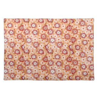 Girly Peachy Orange Phlox Posy Flowers Placemat
