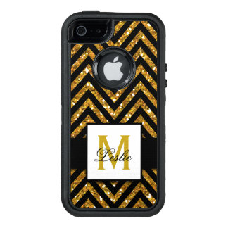 GIRLY, PERSONALIZED GOLD GLITTER CHEVRON PATTERN OtterBox DEFENDER iPhone CASE