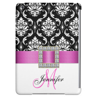 Girly Personalized Pink Black Damask Pattern