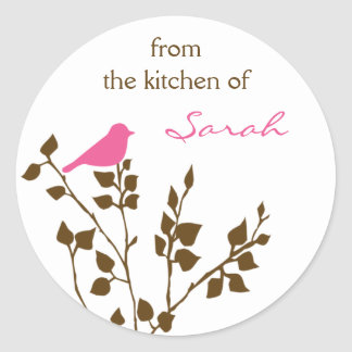 Girly Personalized Pink Brown Baking Stickers