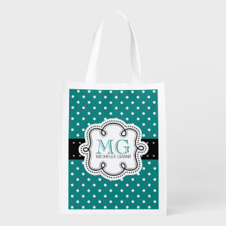 Girly Personalized Teal Polkadots Grocery Bags
