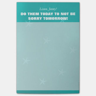 Girly personalized to-do list in blue teal post-it® notes