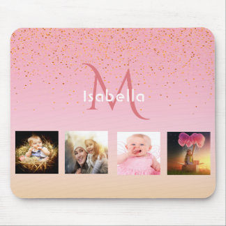 Girly photo collage on rose gold monogrammed mouse pad