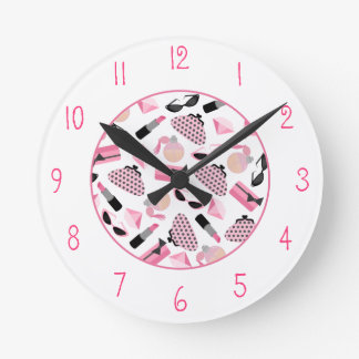 Girly Pink Accessories Clock