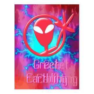 Girly Pink Alien Greeting Greet Earthling Fractal Postcard