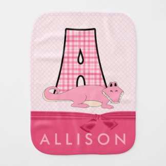 Girly Pink Alligator in Plaid with Monogram Burp Cloth
