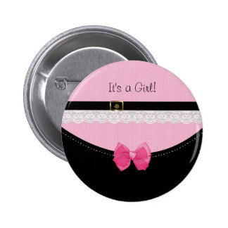 Girly Pink And Black Baby Shoes Birth Announcement 6 Cm Round Badge