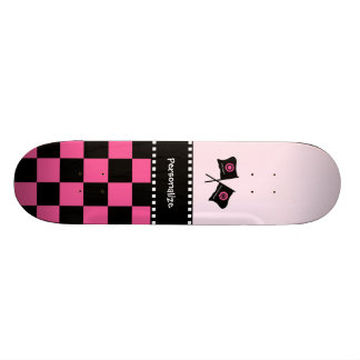 Girly Pink and Black Checker Racing Flags and Name Skate Board
