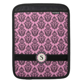 Girly pink and black damask monogram emblem iPad sleeve