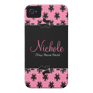Girly Pink and Black Floral Blackberry Case