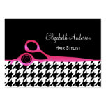 Girly Pink and Black Houndstooth Hair Salon